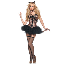 Halloween Costumes For Women Adults Brown Leopard Corset Dress Costume Carnaval Cosplay Role-Play Sexy Catwoman Party