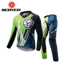 SCOYCO Motorcycle Pants Racing T-Shirt Clothing Combinations Motocross Suit Off-Road Dirt Bike DH Jersey + Hip Pads Pants Suit(China)