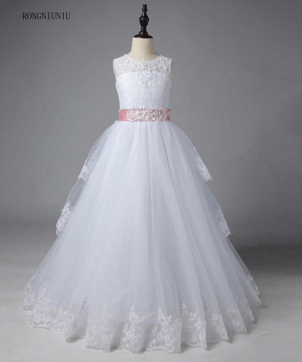 Ivory White Lace   Flower     Girls     Dresses   2019 Ball Gown Belt Floor Length   Girls   First Communion   Dress   Princess   Dress