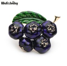 Ungu Enamel Bros Wanita pria Alloy Tanaman Blueberry Girls Topi Tas Broche Bros Pins Badge Hadiah(China)