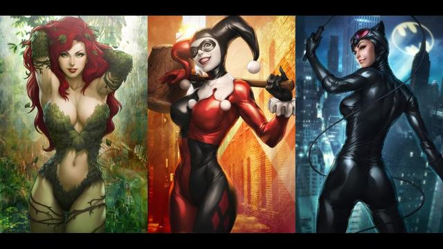 Comics Catwoman Harley Quinn Poison Ivy 3'Size Silk Fabric Canvas Poster Print