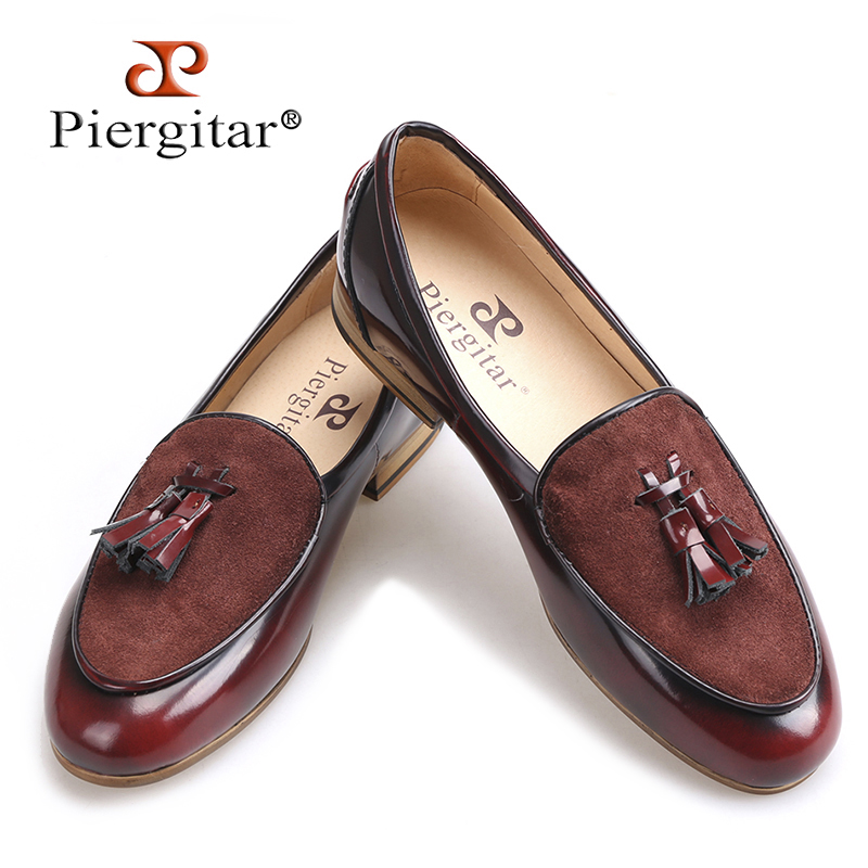 Piergitar brand 2018 Handmade leather men tassel loafers Fashion Men Casual Shoes party and banquet smoking slippers Big Size