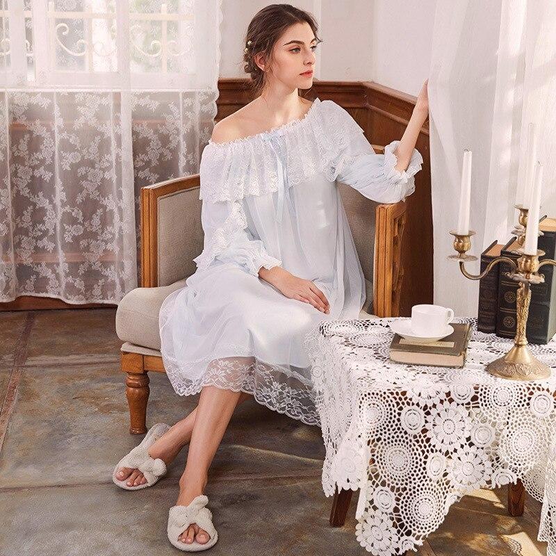 Women's Sleepwear Off The Shoulder Victorian Nightgown Vintage Loose Light Blue Lingerie Flare Sleeve Home Dress Night Wear