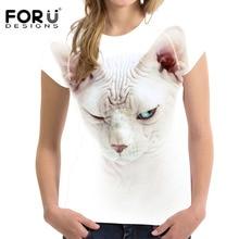 FORUDESIGNS t shirt Women Kawaii White t-shirt Summer 2019 Tshirt Clothes Wonder Woman tee Sphinx Cat Canada Slim Fitness