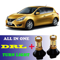 2pcs LED Dual Color 1156 BAU15S PY21W Front  DRL Daytime Running Lights&Turn Signal light Canbus Error Free For Nissan TIIDA