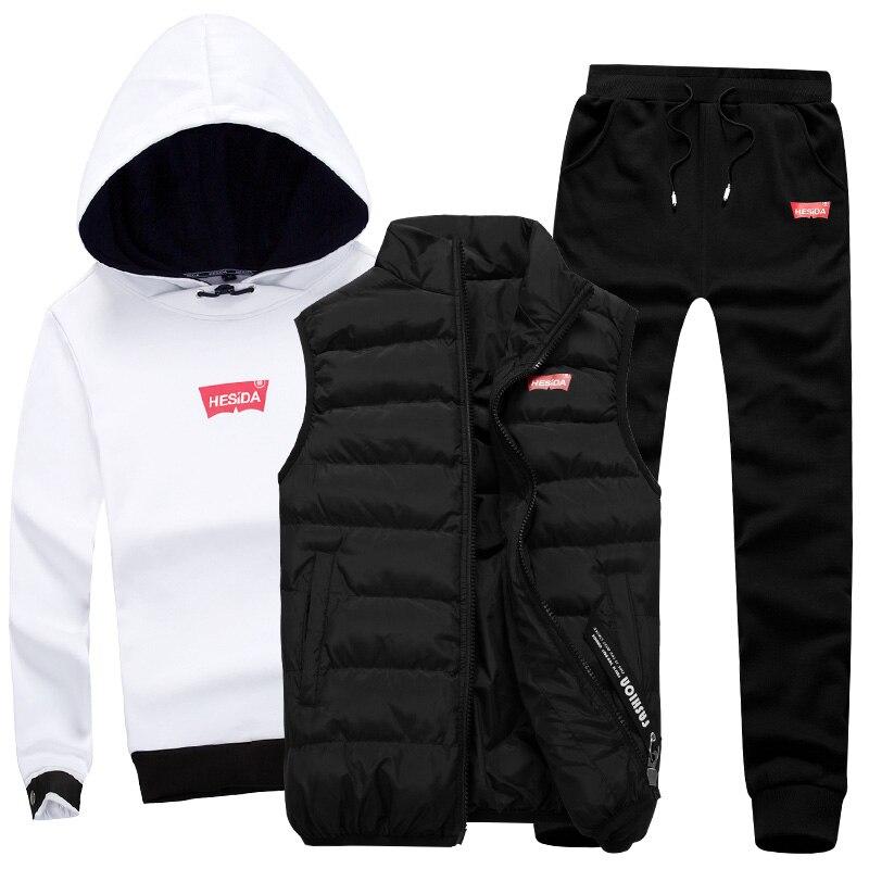 Толстовка для мужчин 3 шт. теплый флис бренд толстовки для повседневное модные спортивный костюм мужской с капюшоном костюмы комплект Спорт