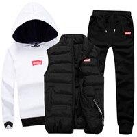Толстовка с капюшоном для мужчин, 3 предмета, теплый флисовый бренд, толстовки для повседневной моды, спортивный костюм, мужской комплект од