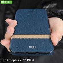 MOFi durumda Oneplus 7 kapak için Oneplus7 7 Pro Flip konut Oneplus7pro Coque TPU PU deri kitap standı tek artı 7pro Folio