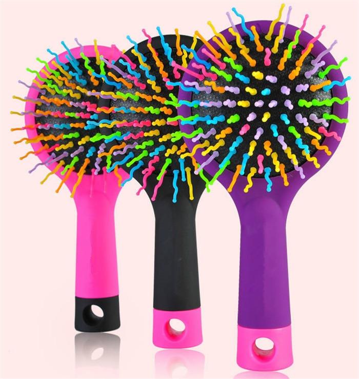 Flokë ylberi magjik krehër jastëk magjik anti-statik Furça të rrumbullakëta flokësh Salloni krehër make up