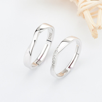 Funmor Exquisite Curved Adjustable 925 Sterling Silver Ring For Couple Women Men Wedding Engagement Decoration Accessories Gifts