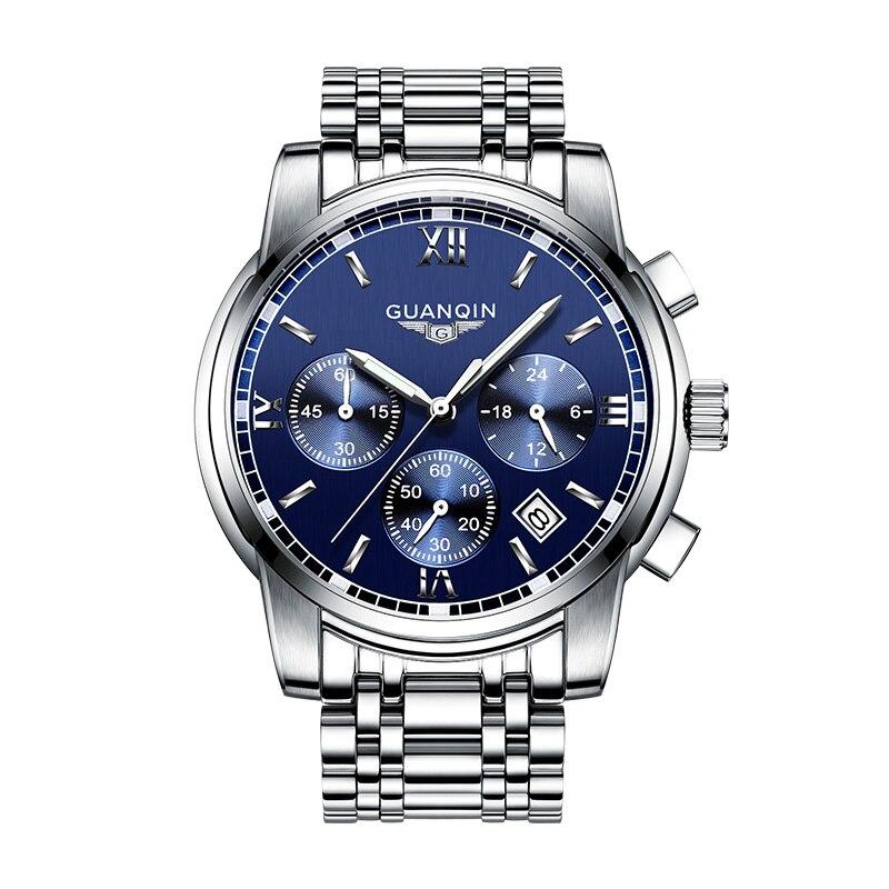 GUANQIN GS19018 2017 New Luxury Watch Brand Watch Men Steel Fashion Clock Male Waterproof Watches Complete Calendar цена 2017