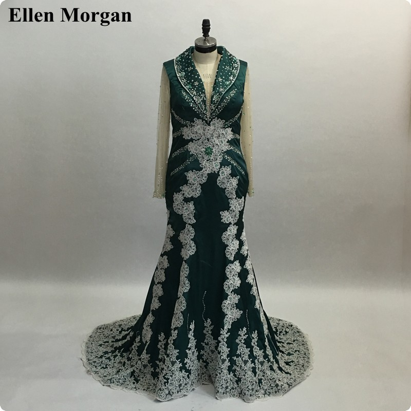 Saudi Arabia Evening Dresses For Women Wear Abiye Gece Elbisesi Dubai Moroccan Kaftan Long Sleeve Mermaid Lace Formal Gowns 2019 Evening Dresses
