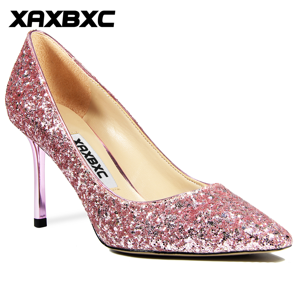 XAXBXC 2018 New Summer Fashion Gradient Pink Bling Bling Sequined Thin High Heels Women Glitter Pumps Woman Party Wedding Shoes
