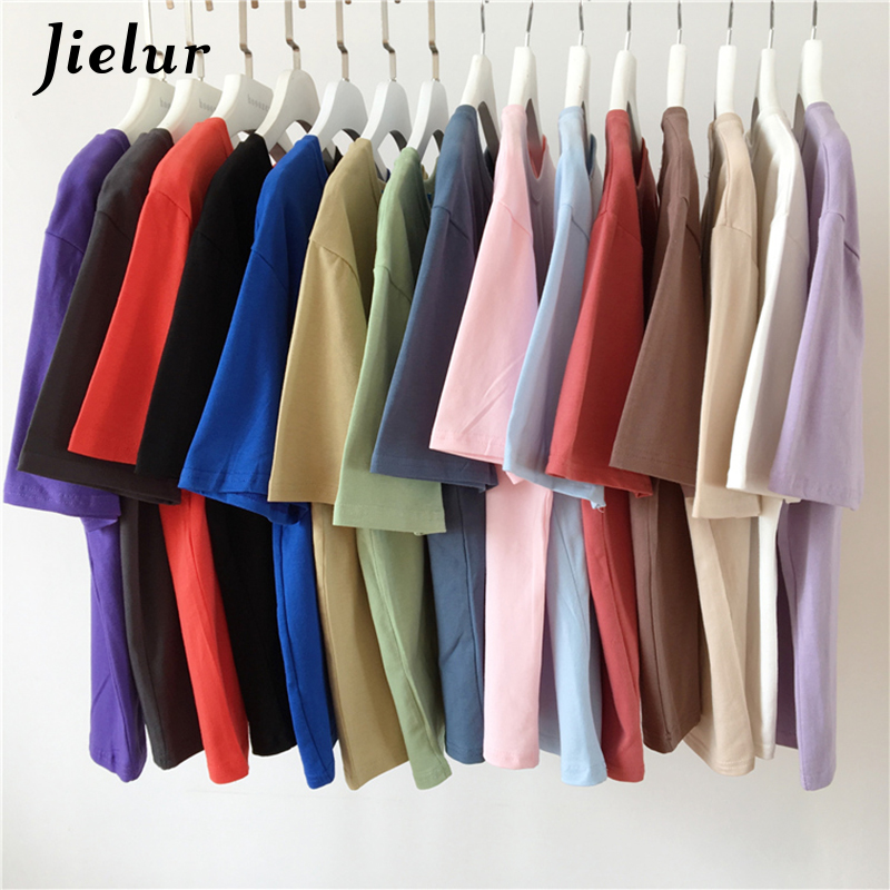 Jielur Camiseta T-shirt Das Mulheres Ocasional O-pescoço Cor Sólida Básico vestido de 15 Harajuku Verão Top Moderno Coreano Camisa Branca T S-XL dropship