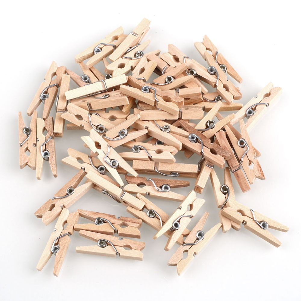 150Pcs/Lot Mini Natural Wooden Clip Paper Clips 25mm For Home Wooden Clips Spring Clips