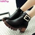 Vallkin moda botas de cremallera de la pu de la mujer gruesa de tacón alto tobillo botas de Las Mujeres Zapatos de Las Señoras Del Punk Botas de Plataforma Negro Tamaño 11 12