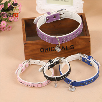 Onewellpet Brand High Quality PU Diamond Pet Collar With Peach Heart Pendant And 120cm Leashes For Small To Large Pet Dogs