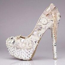 Women's Wedding Luxury Shoes Sale Online Diamond Bow Super High Heel Platform Crystal Tassel Pearl Bridal Pumps High Quality