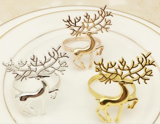 50 Stks Upscale Exquise Elanden Herten Servetring Ornament Voor Kerst Servet Gesp Voor Hotel Wedding Party Tafeldecoratie Mooie Glans