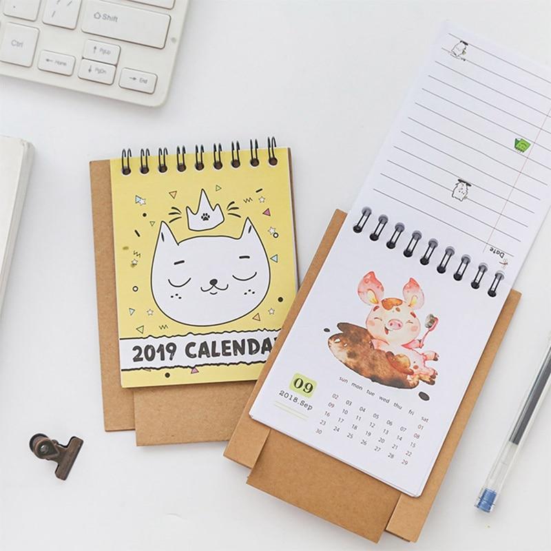 Kalender, Planer Und Karten 2019 Frische Cartoon Tier Blume Mini Papier Desktop-kalender Dual Täglichen Scheduler Tisch Planer Jährlich Agenda Organizer Kataloge Werden Auf Anfrage Verschickt Office & School Supplies