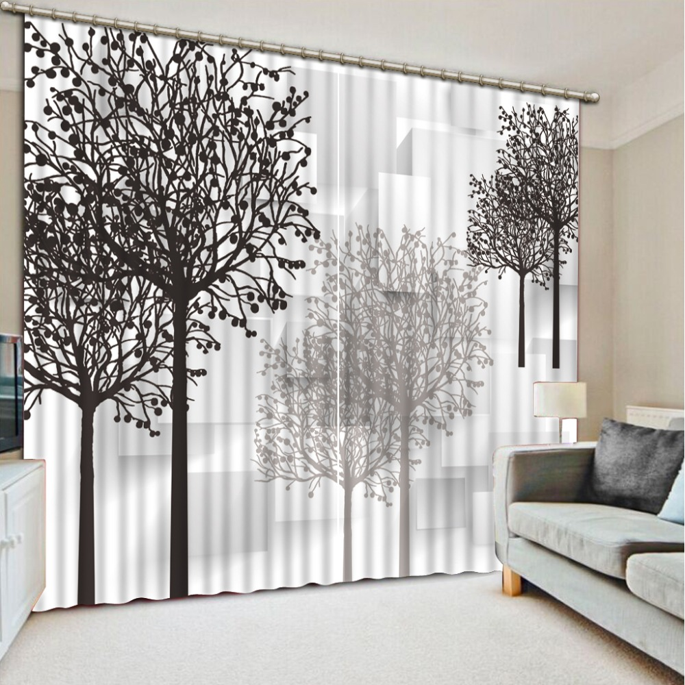 Black and white Curtain Decoration 3D Blackout  Brief tree Curtains For Bedroom Living room Polyester Room Curtain Custom size