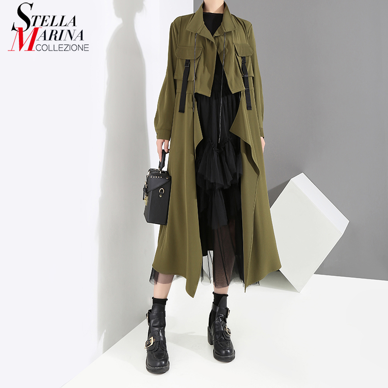 2018 Nuovo Army Green Solid Winter Women Trench rrHgwd
