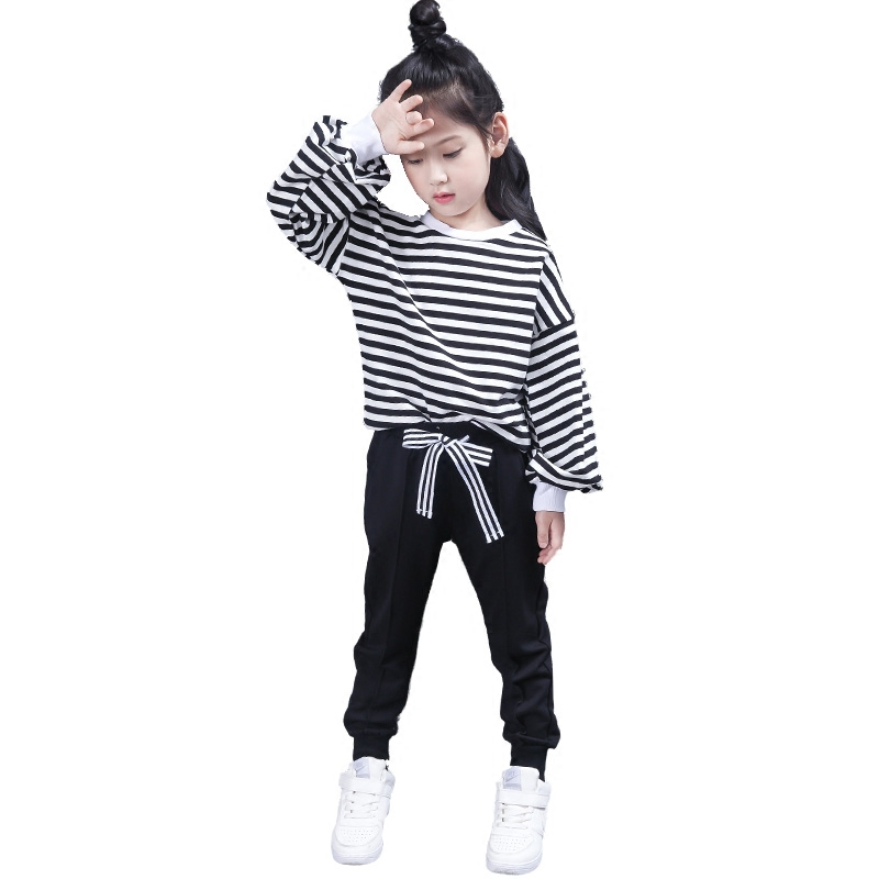 2017 autumn girls stripped oversize t shirt blouse clothes fashion children Tee tops sweatshirt + pants kids jogging track suits 2017 spring autumn 1 6t kids cotton long sleeve t shirt baby boys girls age number blouse tops children pullovers tee camiseta