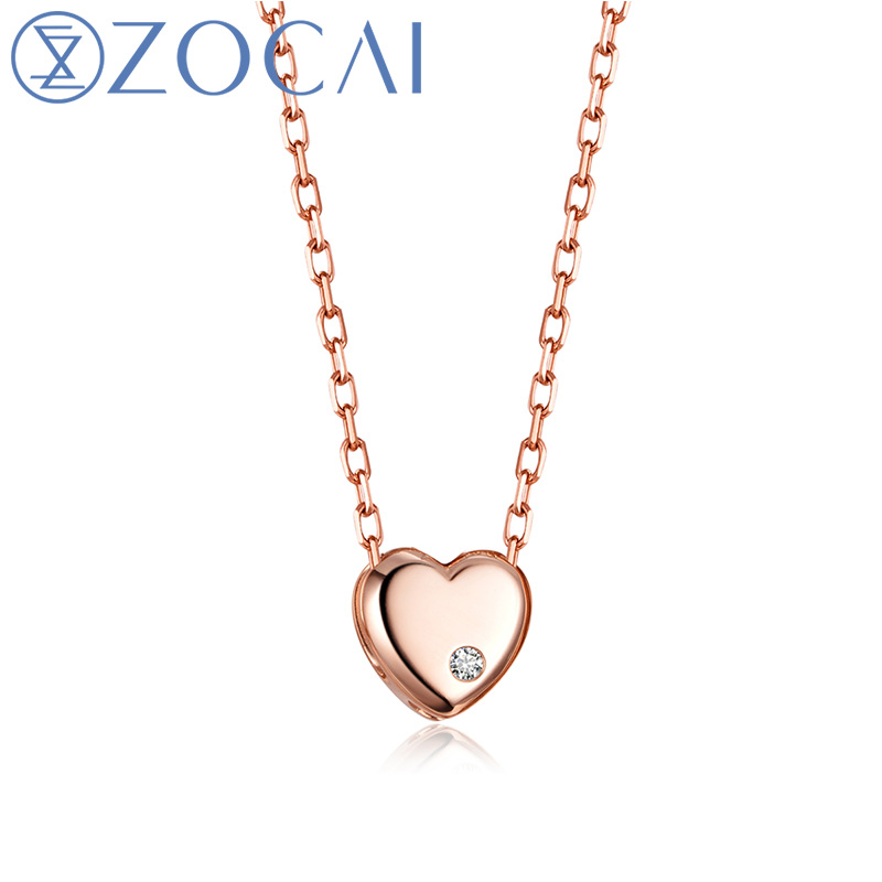 ZOCAI Brand Necklace Heart Shape Real 0.01 CT Certified H / SI Diamond Pendant 18K rose Gold (Au750) 925 Silver Chain JBD00367