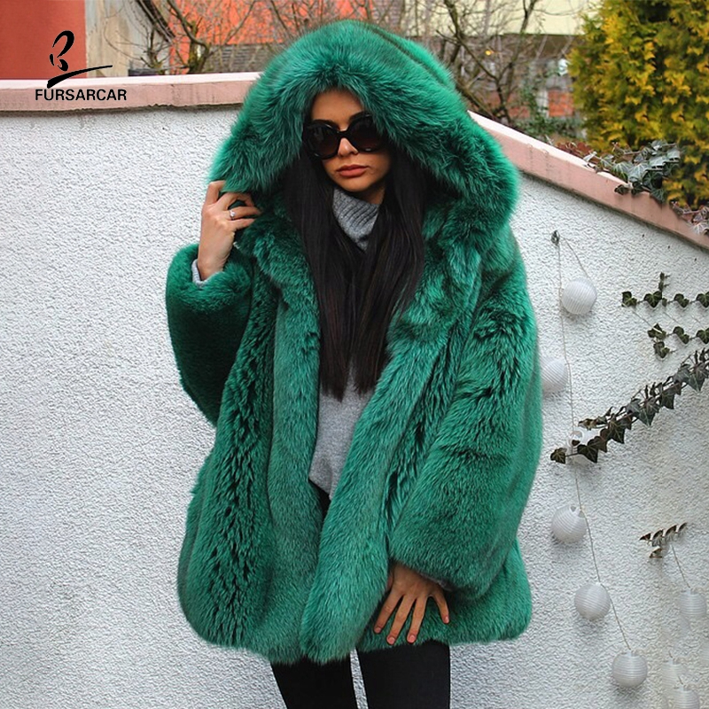 FURSARCAR Women Green Real Blue Fox Fur Jacket With Large Hood Winter Genuine Natural Fur Coats For Female Plus Suze Clothing