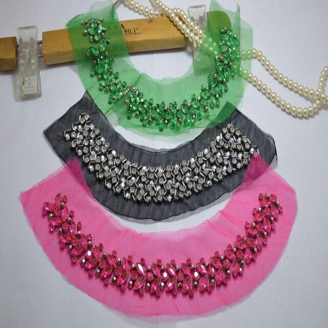 Pièce brodée en dentelle Polyester 1 pièce   Magnifique, vert ~ noir ~ rose, perles brodées en dentelle, Patch pour col, robe de mariée, 043001