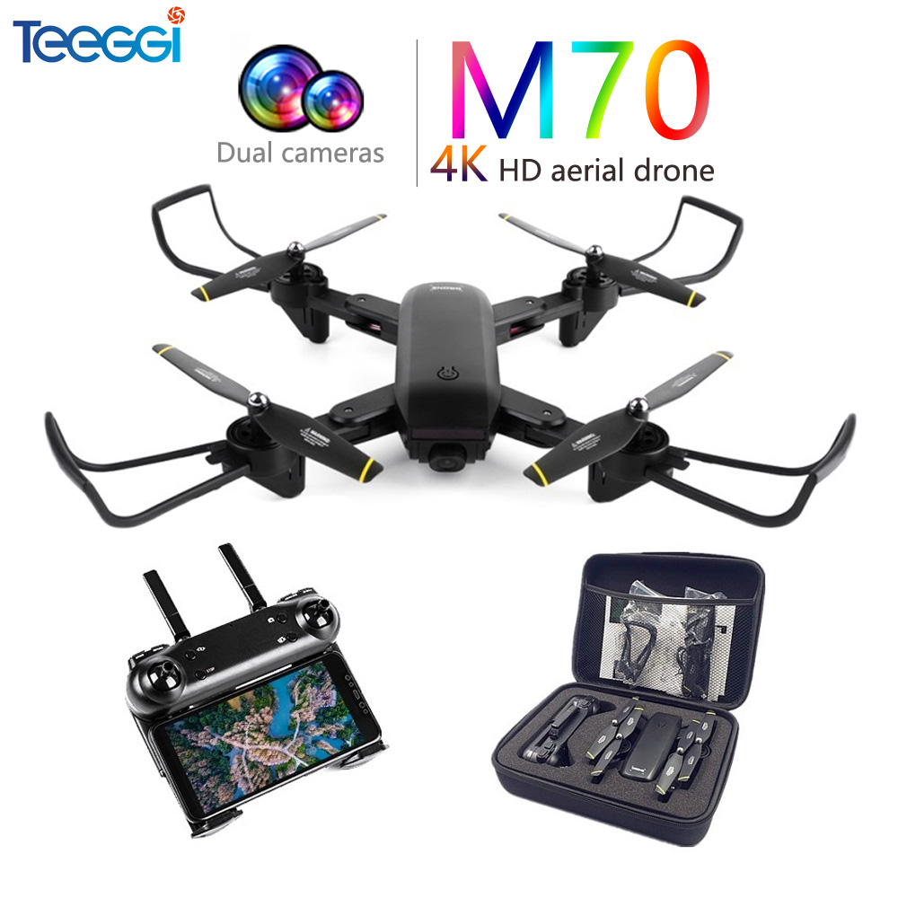 Teeggi M70 RC Quadcopter Drone 4K With Camera HD 1080P FPV Selfie Drone Quadcopter Helicopter VS E58 VISUO XS809HW XS809S SG700