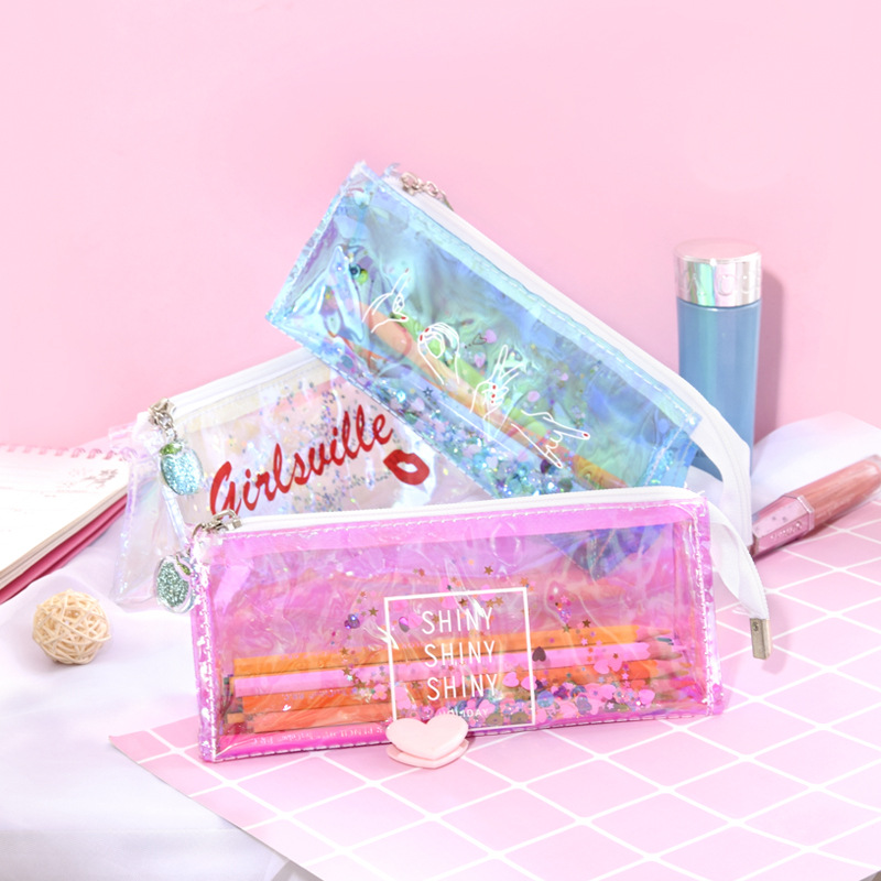 Creative Fashion Cool Laser Transparent Sequin Quicksand Pen Bag Silica Gel PVC Plastic Water Proof Pencil Bag Pen Case
