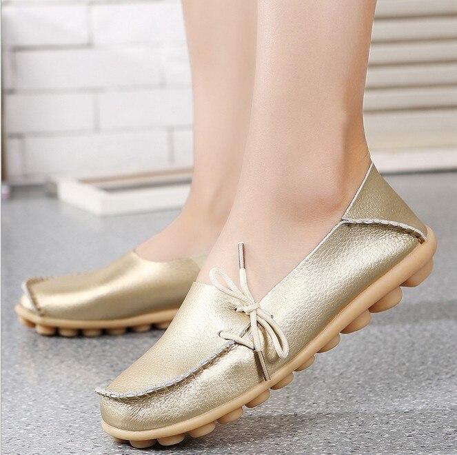 De gran Tamaño de Las Mujeres Zapatos de Cuero Genuino Madre Zapato Niñas Con Co