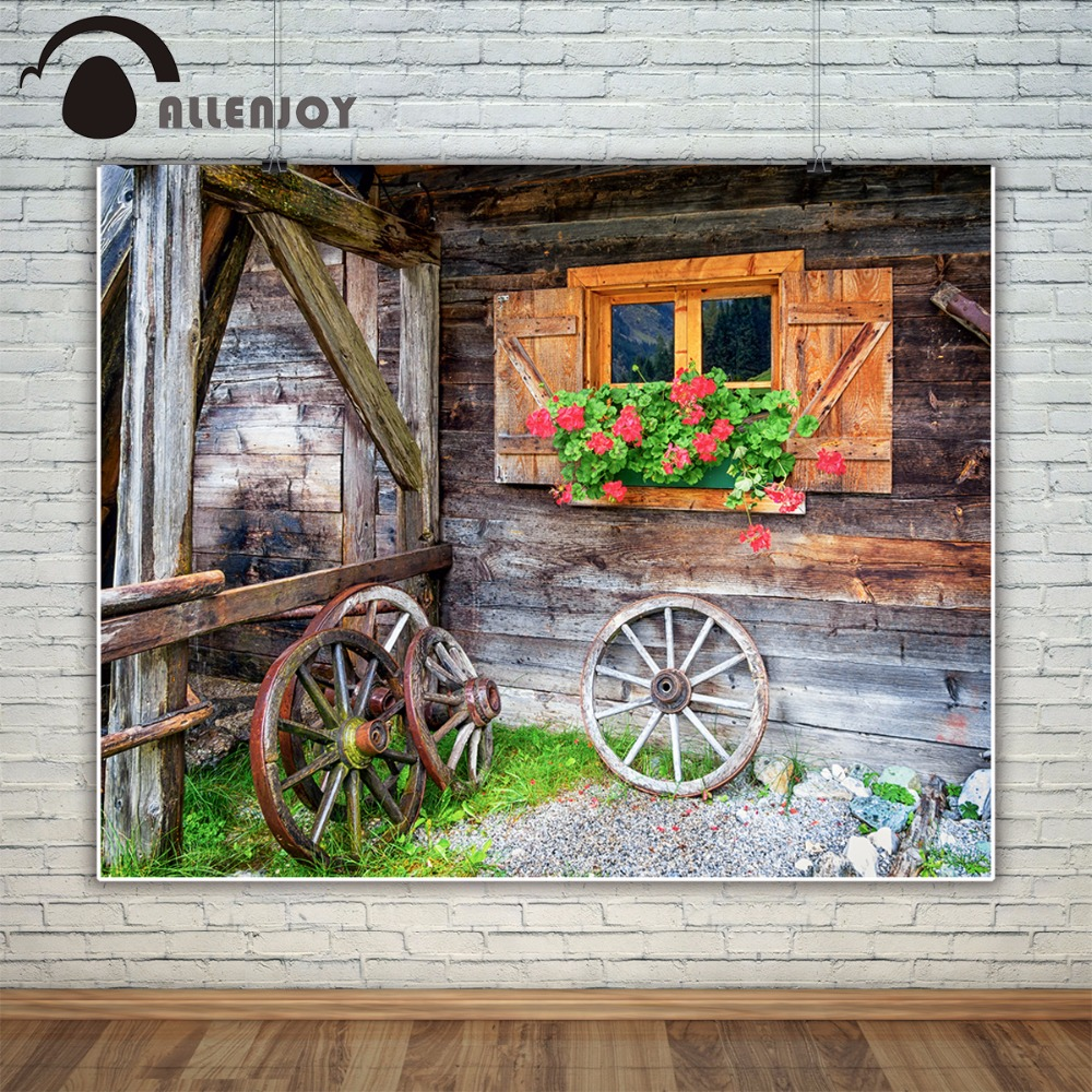 Allenjoy farmhouse photography backdrop old window flower wood countryside Background photobooth photocall photo studio