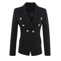 HIGH QUALITY New Fashion 2016 Runway Style Women S Gold Buttons Double Breasted Blazer Outerwear Plus