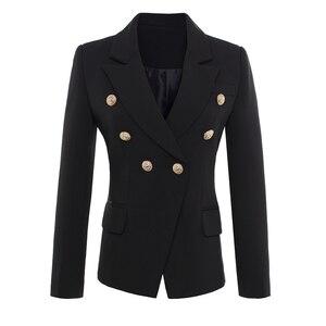 عالية الجودة جديد الأزياء 2019 المدرج نمط المرأة الذهب أزرار مزدوجة الصدر سترة قميص زائد حجم S-XXXL
