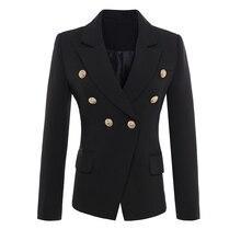 높은 품질 새로운 패션 2020 활주로 스타일 여자의 골드 단추 더블 브레스트 블레 이저 겉옷 플러스 크기 S XXXL
