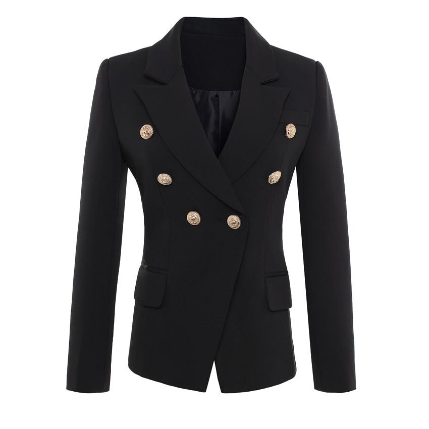 उच्च गुणवत्ता वाले नए फैशन 2018 रनवे स्टाइल महिलाओं के सोने के बटन डबल ब्रेस्टेड ब्लेज़र आउटरवियर प्लस आकार S-XXX