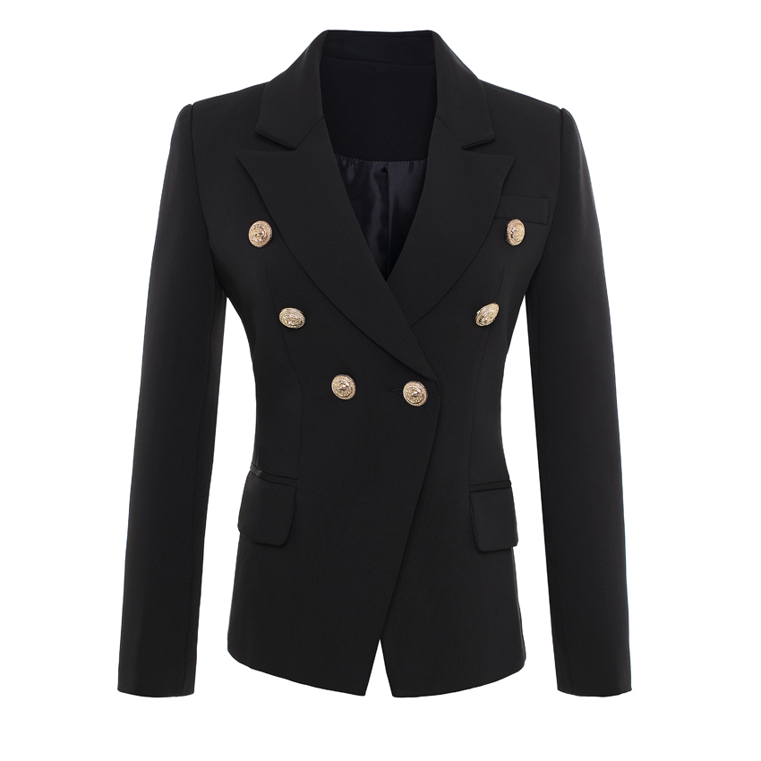 HIGH QUALITY New Fashion 2019 Runway Style Women's Gold Buttons Double Breasted Blazer Outerwear Plus size S-XXXL