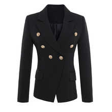 HIGH QUALITY New Fashion 2019 Runway Style Women's Gold Buttons Double Breasted Blazer Outerwear Plus size S-XXXL - DISCOUNT ITEM  34% OFF All Category