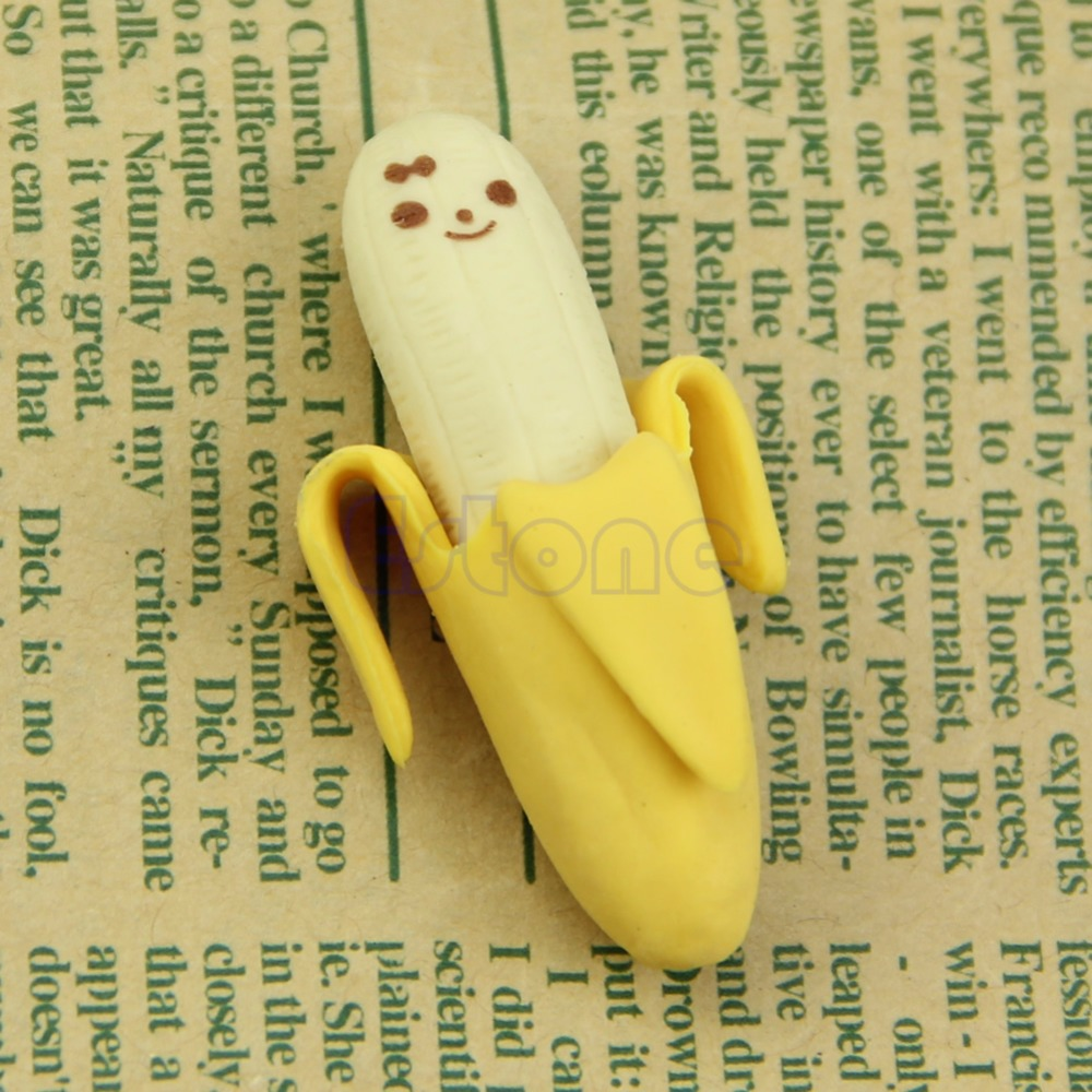2PCS Cute Banana Fruit Style Rubber Pencil Eraser Office Stationery Gift Toy