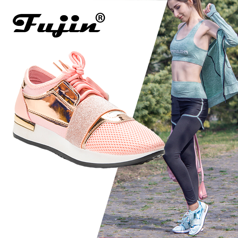 Fujin  Women Sneakers New 2019 Spring Fashion Pu Leather Platform shoes Ladies Trainers Chaussure Femme Women Casual Shoes(China)