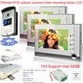 "1v3 RFID 700Lines intercom Color 7"" High Resolution Color Video Doorphone Door Entry   Max 32GB SD Card Video Recording."