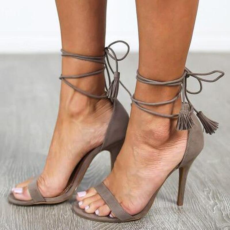 Talon De Bout Robe 2017 Sandales Stiletto Ouvert Nouvelle D'été Fringe Chaussures Lacets Arrivée Embelli À Noce Gladiateur OznwY6qzHS