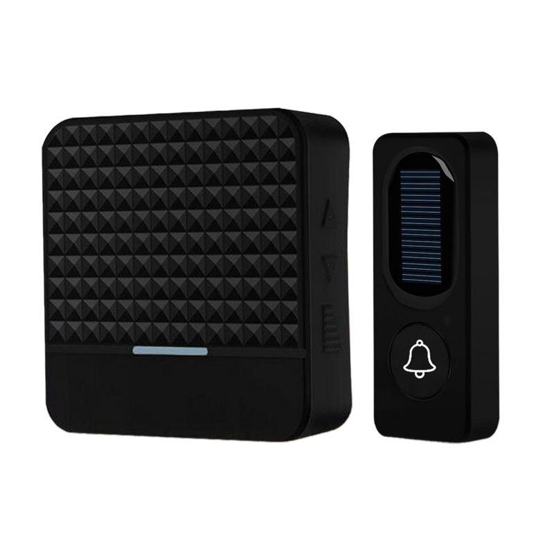 300M Long Range Solar Power Wireless Waterproof Doorbell Light Control Sensor With Transmitter+ Receiver Door Bell Kit(US Plug