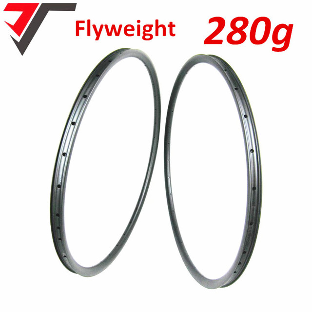 TRIPS 2018 New Flyweight 280g only carbon 29er mtb rim XC hookless carbon rims UD 29inch mountain bike rim tubeless compatible