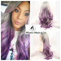 Ombre Kylie Jenner 3T black sliver Grey purple Body wave Synthetic Lace Front dark root Glueless Long Heat Resistant Hair Wigs
