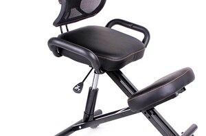 Image 2 - Zaprojektowane krzesło kolanowe z oparciem i uchwytem biurowe krzesło klęczące ergonomiczna postawa skórzane czarne krzesło z kółkiem