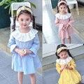 Primavera Verano vestido de la muchacha de Flor del bordado del vestido de Peter pan collar floral Niñas Princesa Vestidos Casuales azul rosa amarillo