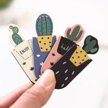 A12 3pcs /Set Fresh Cute Cactus Magnetic Bookmarks Books Marker of Page Student Stationery School Office Supply